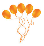 Beautiful orange balloon in the air. Royalty Free Stock Photos