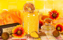 Beautiful orange bathroom accessory still life Royalty Free Stock Image