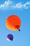 Beautiful orange and blue hot air balloon Stock Photo