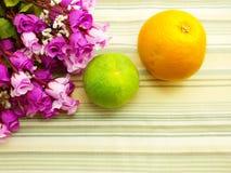 Beautiful  Orange. Orange & flower background with green stripes Background Royalty Free Stock Photography