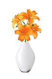 Beautiful orange lily flowers in vase isolated Royalty Free Stock Photography