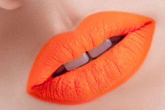 Beautiful orange  lips Stock Image