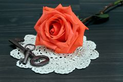 Beautiful orange rose on an antique doilie and vintage keys. A beautiful orange rose resting on an antique doilie, next to vintage keys. Macro royalty free stock photography
