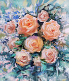 Beautiful orange roses. The beautiful orange roses, painting Royalty Free Stock Photo