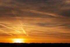 Beautiful orange sky during sunset Stock Photos