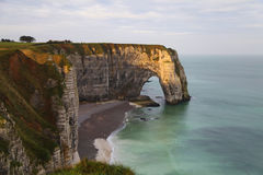 Beautiful orange sunrise in Etretat, Normandy, France Stock Photography