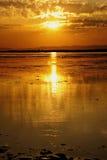 Beautiful orange sunset. On the river stock photo