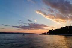 Beautiful orange sunset in Croatia. Royalty Free Stock Photo