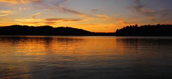 Beautiful sunset on lake Stock Photo