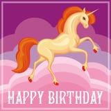 Beautiful orange unicorn Stock Images