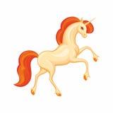 Beautiful orange unicorn Stock Image