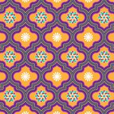 Beautiful orange and violet decorated Moroccan seamless pattern with floral designs. For textile, fabric, backgrounds, decoration, wallpaper, backdrop & stock illustration