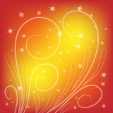 Beautiful orange and yellow background. With curls and stars Stock Image