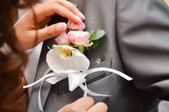 Beautiful orchid boutonniere on groom suit Stock Photography