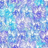 Beautiful Orchid. Hand drawn Blue lilac purple contour on Blue background sketch seamless pattern, card banner design trendy backd royalty free illustration