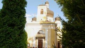 Beautiful organ hall. CHERNIVTSI, UKRAINE - AUGUST 24, 2017: Beautiful Organ Hall in the ancient Armenian church of red brick stock video footage