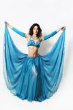 Beautiful oriental cabaret woman in wide skirt Stock Images