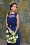 Beautiful oriental girl in a blue dress Royalty Free Stock Image