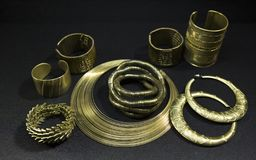 Set of Beautiful Oriental gold jewelry Indian, Arab, African, E stock image