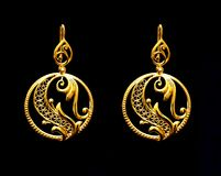 Free Beautiful Oriental Gold Turkish Jewelry Women`s Earrings Black Background Stock Photography - 101556212