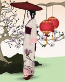 Beautiful oriental picture with geisha royalty free illustration