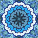 Beautiful oriental seamless pattern with mandala.. Background in eastern style. Vector floral illustration in blue and white colors. Decor for napkin or print Royalty Free Stock Photo