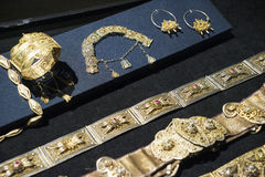 Beautiful Oriental Turkish gold and silver bracelets handmade Royalty Free Stock Images