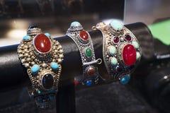 Beautiful Oriental Turkish gold and silver bracelets handmade Stock Photography