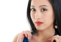Beautiful oriental woman close up Stock Images