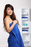 Beautiful Oriental Woman Wearing Blue Bath Towel Royalty Free Stock Photography