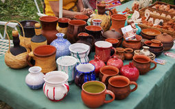 Beautiful original ceramic ware made from clay on a Potter's wheel handmade and firing Stock Image