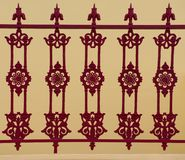 Beautiful original ironwork gates from Santorini, Greece. Fence near a house in Fira, Thera, a real masterpiece of a smith stock images