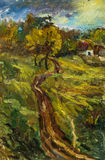 Beautiful Original Oil Painting autumn landscape On Canvas. Beautiful Original Oil Painting of autumn landscape on a sunny day, trees, house, footpath into the vector illustration