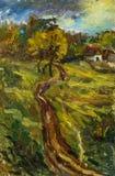 Beautiful Original Oil Painting autumn landscape On Canvas vector illustration