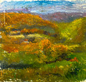 Beautiful Original Oil Painting of autumn landscape On Canvas Royalty Free Stock Images