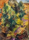 Beautiful Original Oil Painting with autumn yard Stock Photos