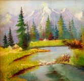 Beautiful Original Oil Painting Landscape On Canvas.  Snow covered mountains in the background Royalty Free Stock Images