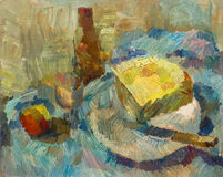 Beautiful Original Oil Painting of Still Life bottle cheese knife glass of apple On Canvas Stock Photos