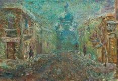 Beautiful Original Oil Painting of street of Chernivtsi On Canvas. Beautiful Original Oil Painting Chernivtsi city street in bright colors On Canvas stock photo