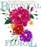 Beautiful original vintage botanical. Floral design Royalty Free Stock Image