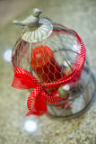 Steel cage ornament with red ribbon Royalty Free Stock Photography