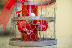 Two small birds in a steel cage ornament Stock Photography