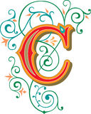 Beautiful ornament, Letter C stock illustration