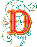 Beautiful ornament, Letter D Stock Images
