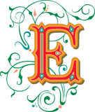Beautiful ornament, Letter E Royalty Free Stock Images