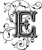 Beautiful ornament, Letter E. Beautiful ornate English alphabets, Letter E, Grayscale vector illustration