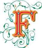 Beautiful ornament, Letter F Stock Photos