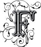 Beautiful ornament, Letter F stock illustration