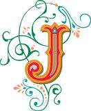 Beautiful ornament, Letter J Royalty Free Stock Images