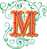 Beautiful ornament, Letter M Stock Photo